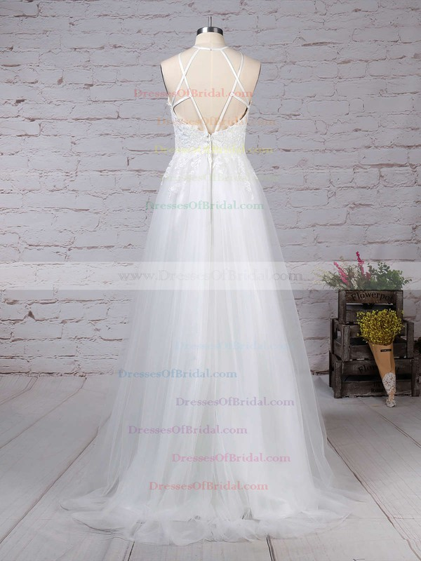 Tulle A-line Scoop Neck Sweep Train Appliques Lace Wedding Dresses #DOB00023266