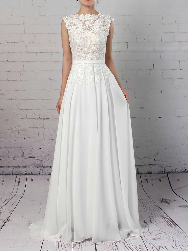 Lace Chiffon A-line Scoop Neck Sweep Train Sashes / Ribbons Wedding Dresses #DOB00023294