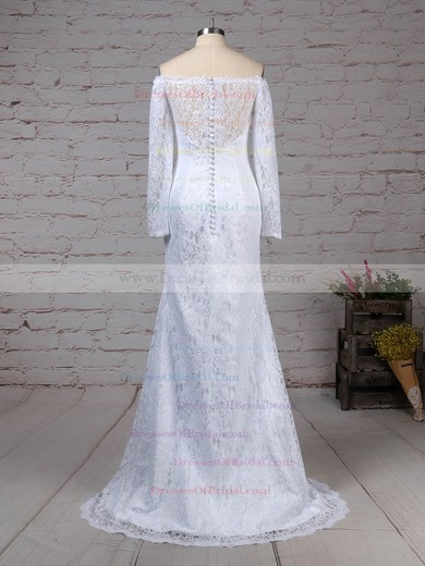 Lace Trumpet/Mermaid Off-the-shoulder Sweep Train Wedding Dresses #DOB00023298