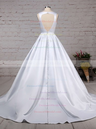 Satin Ball Gown V-neck Court Train Beading Wedding Dresses #DOB00023311