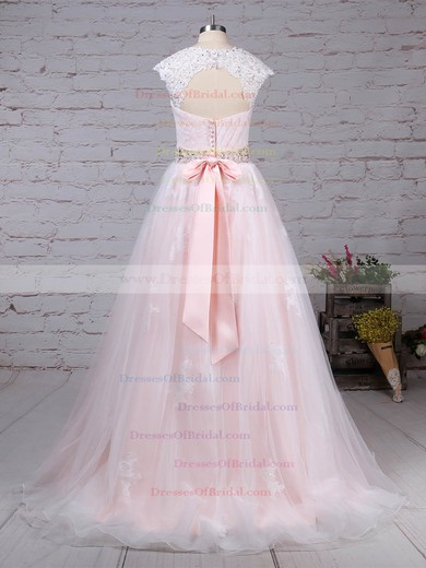 Tulle Ball Gown Sweetheart Sweep Train Appliques Lace Wedding Dresses #DOB00023176