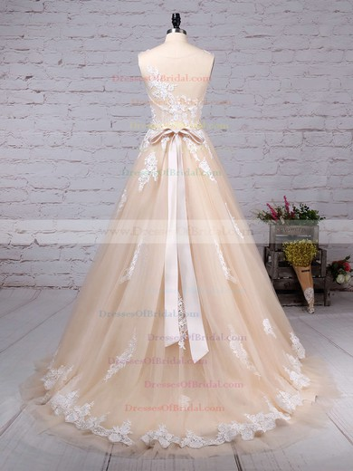 Tulle Ball Gown Scoop Neck Sweep Train Beading Wedding Dresses #DOB00023186