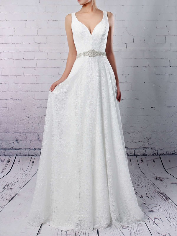 Lace Tulle A-line V-neck Sweep Train Sashes / Ribbons Wedding Dresses #DOB00023210