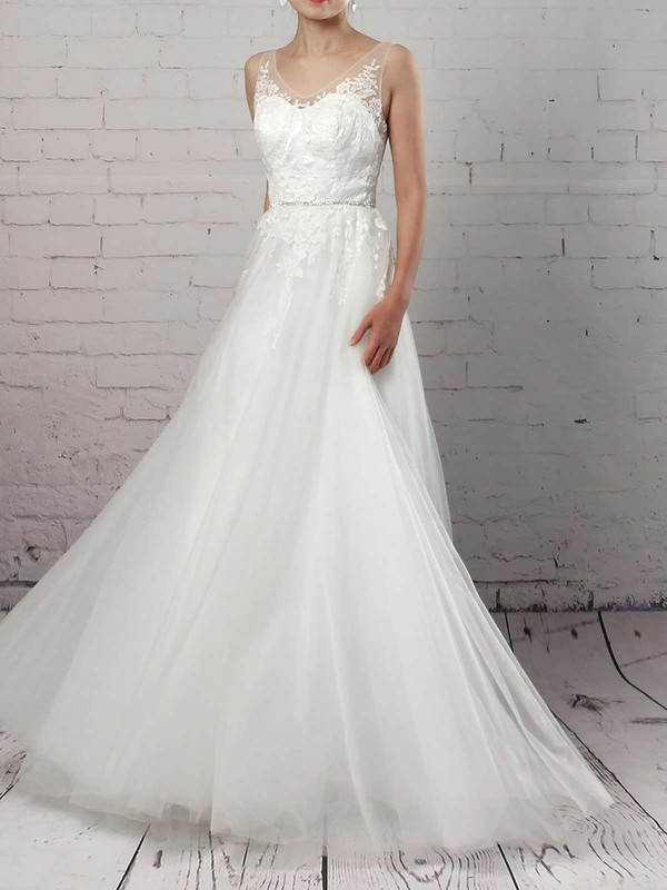 Tulle A-line V-neck Sweep Train Appliques Lace Wedding Dresses #DOB00023215