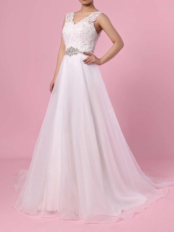 Chiffon Princess V-neck Sweep Train Appliques Lace Wedding Dresses #DOB00023282