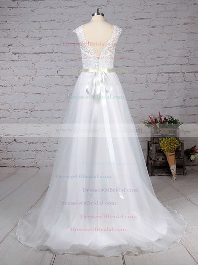 Chiffon Princess V-neck Sweep Train Appliques Lace Wedding Dresses #DOB00023282