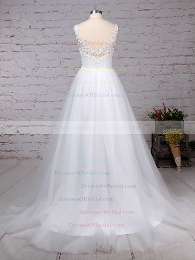Tulle Princess V-neck Sweep Train Beading Wedding Dresses #DOB00023288