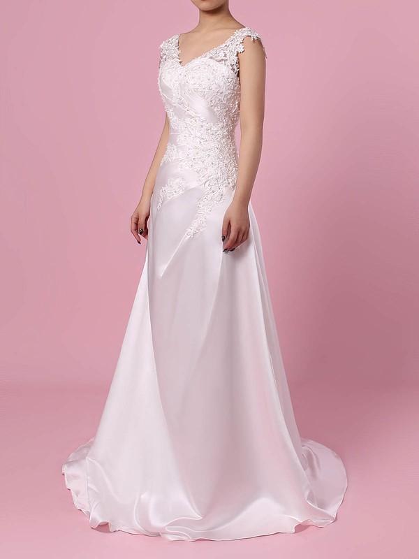 Satin Tulle Princess V-neck Sweep Train Appliques Lace Wedding Dresses #DOB00023301