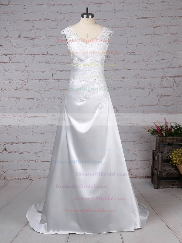 Satin Tulle Princess V-neck Sweep Train Appliques Lace Wedding Dresses #DOB00023301