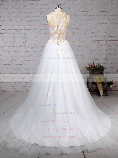 Tulle Princess Scoop Neck Sweep Train Appliques Lace Wedding Dresses #DOB00023309