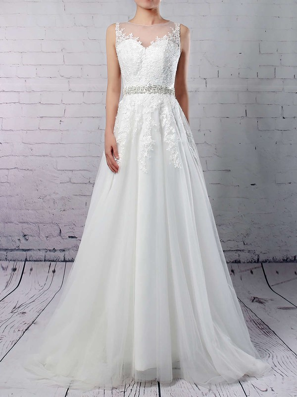 Tulle A-line Scoop Neck Sweep Train Appliques Lace Wedding Dresses #DOB00023318