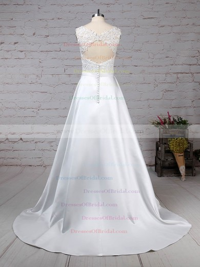 Satin Tulle Ball Gown Scoop Neck Sweep Train Appliques Lace Wedding Dresses #DOB00023319