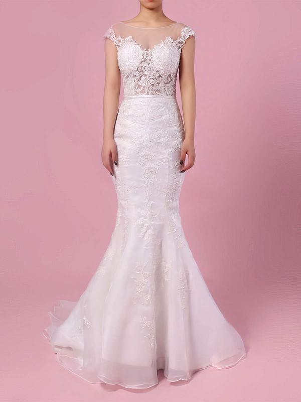 Tulle Trumpet/Mermaid Scoop Neck Sweep Train Appliques Lace Wedding Dresses #DOB00023152