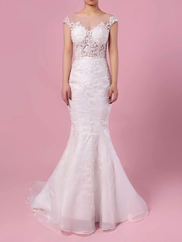 Tulle Trumpet/Mermaid Scoop Neck Sweep Train Appliques Lace Wedding Dresses #DOB00023152