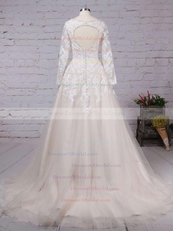 Tulle Ball Gown V-neck Court Train Beading Wedding Dresses #DOB00023154