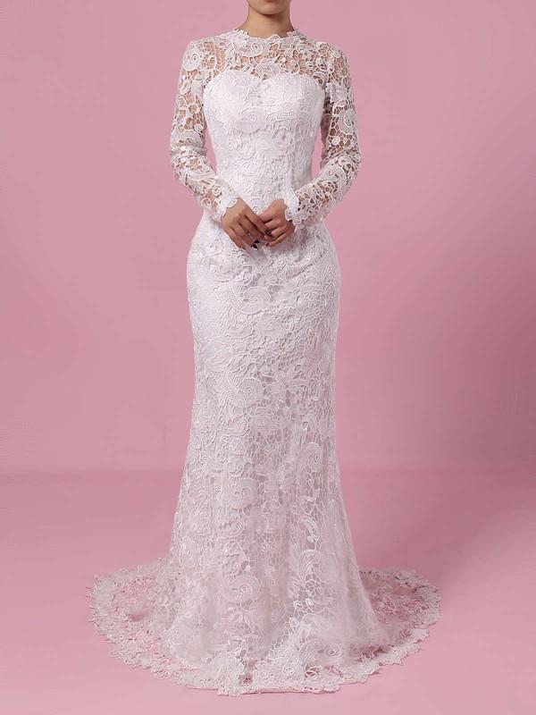 Lace Tulle Sheath/Column Scoop Neck Sweep Train Wedding Dresses #DOB00023193