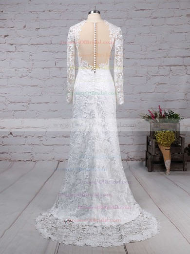 Lace Tulle Sheath/Column Scoop Neck Sweep Train Wedding Dresses #DOB00023193