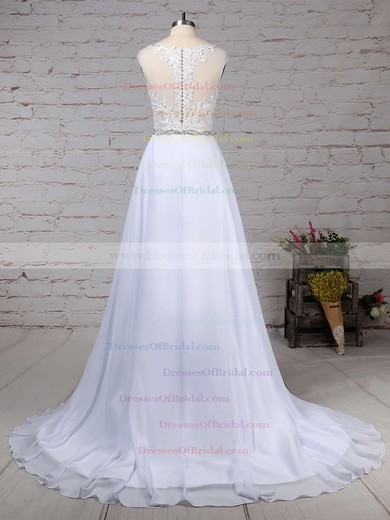 Chiffon Tulle Princess V-neck Sweep Train Beading Wedding Dresses #DOB00023181