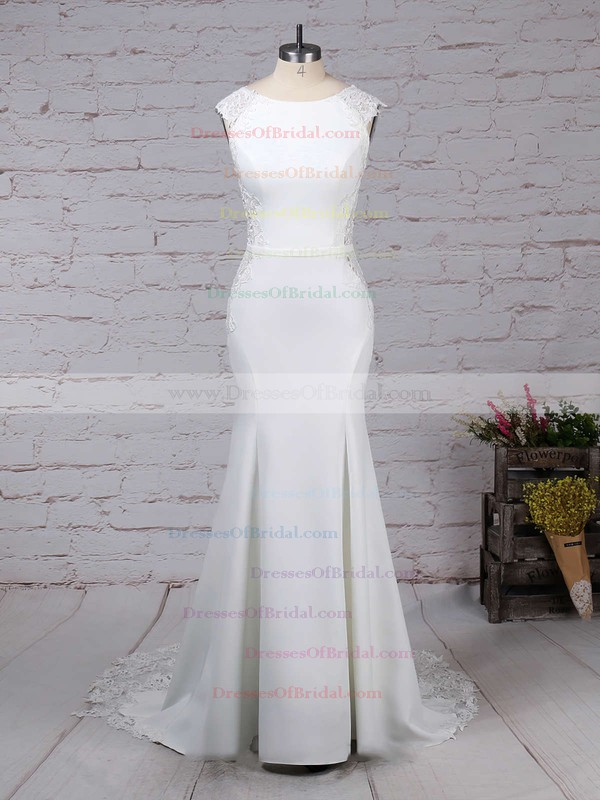 Tulle Satin Chiffon Trumpet/Mermaid Scoop Neck Sweep Train Appliques Lace Wedding Dresses #DOB00023278