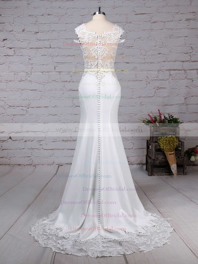 Tulle Satin Chiffon Trumpet/Mermaid Scoop Neck Sweep Train Appliques Lace Wedding Dresses #DOB00023278