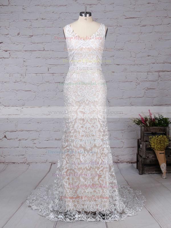 Lace Trumpet/Mermaid V-neck Sweep Train Appliques Lace Wedding Dresses #DOB00023284