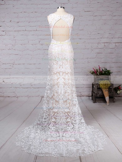 Lace Trumpet/Mermaid V-neck Sweep Train Appliques Lace Wedding Dresses #DOB00023284