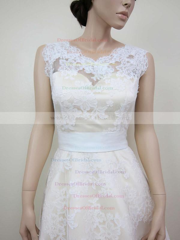 V-neck A-line Tea-length Lace Sashes/Ribbons Wedding Dresses #DOB00020464