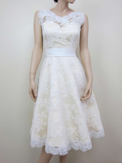 V-neck A-line Tea-length Lace Sashes/Ribbons Wedding Dresses #DOB00020464