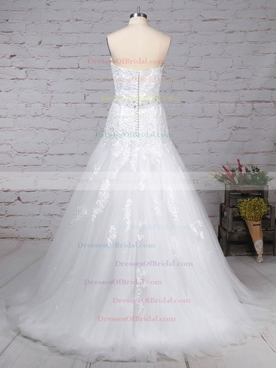 Tulle Trumpet/Mermaid Sweetheart Court Train Appliques Lace Wedding Dresses #DOB00023150