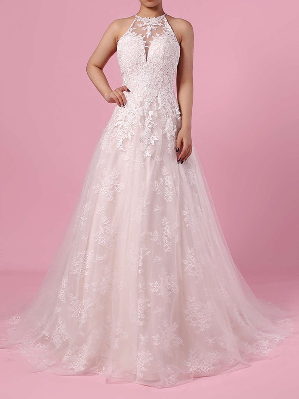 Lace Tulle Princess Scoop Neck Sweep Train Appliques Lace Wedding Dresses #DOB00023159