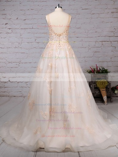 Tulle Ball Gown Scoop Neck Sweep Train Sequins Wedding Dresses #DOB00023173