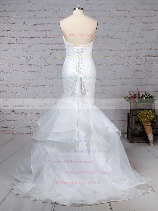 Organza Trumpet/Mermaid V-neck Sweep Train Side-Draped Wedding Dresses #DOB00023190