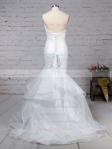 Organza Trumpet/Mermaid V-neck Sweep Train Side-Draped Wedding Dresses #DOB00023190