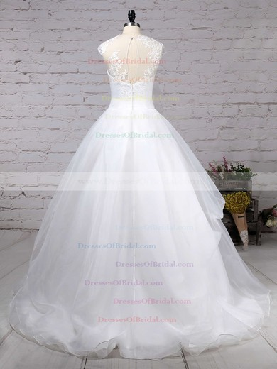 Organza Tulle Ball Gown Scoop Neck Sweep Train Appliques Lace Wedding Dresses #DOB00023192