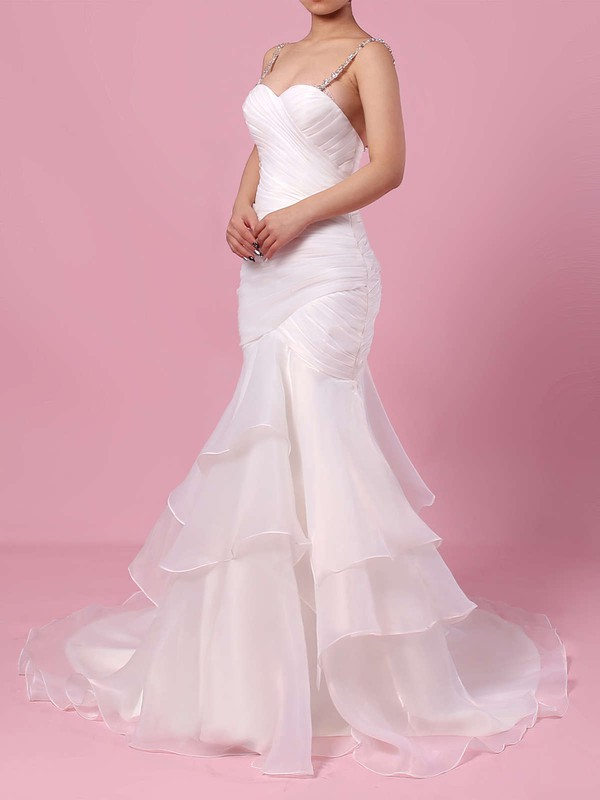Organza Tulle Trumpet/Mermaid Sweetheart Sweep Train Beading Wedding Dresses #DOB00023217