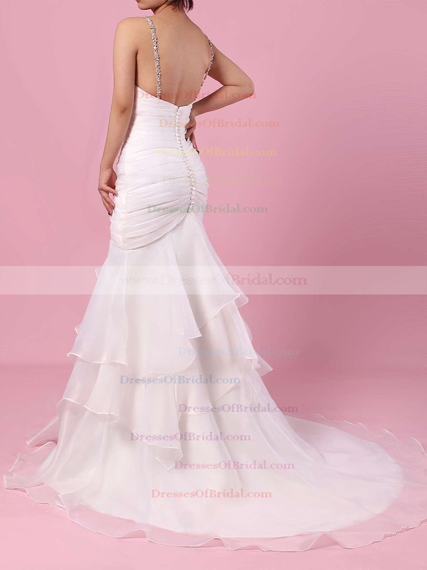 Organza Tulle Trumpet/Mermaid Sweetheart Sweep Train Beading Wedding Dresses #DOB00023217