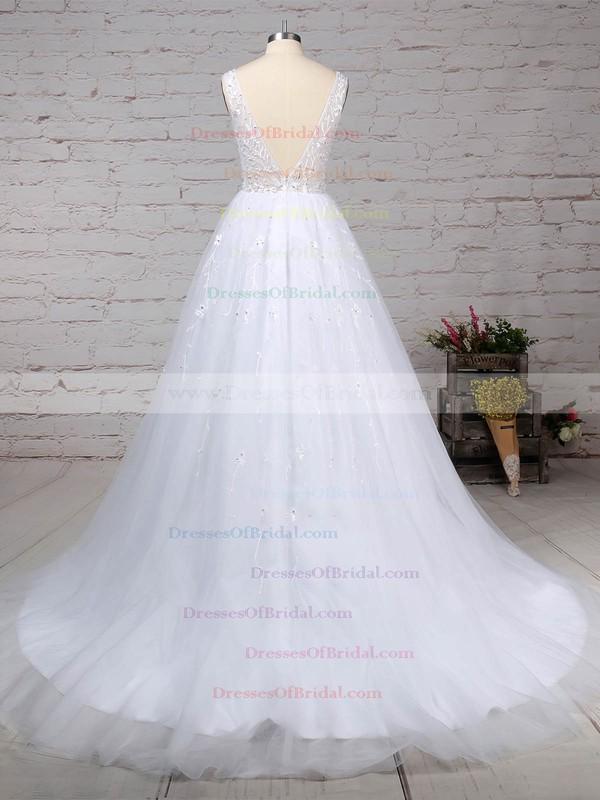 Tulle Ball Gown V-neck Sweep Train Beading Wedding Dresses #DOB00023221