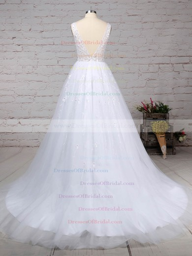 Tulle Ball Gown V-neck Sweep Train Beading Wedding Dresses #DOB00023221