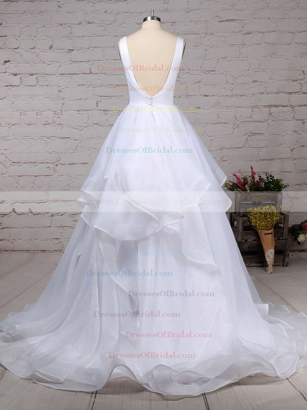 Organza Ball Gown V-neck Sweep Train Ruffles Wedding Dresses #DOB00023222