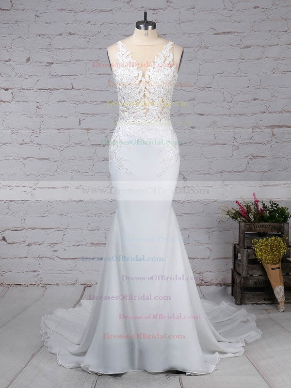 Chiffon Tulle Trumpet/Mermaid V-neck Sweep Train Beading Wedding Dresses #DOB00023232
