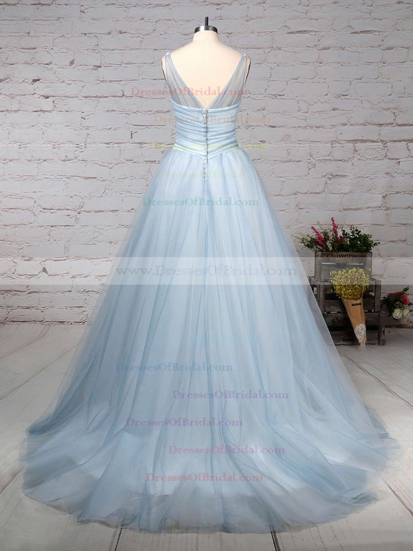 Tulle Ball Gown V-neck Court Train Beading Wedding Dresses #DOB00023241
