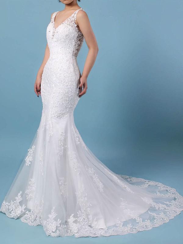 Tulle Trumpet/Mermaid V-neck Detachable Beading Wedding Dresses #DOB00023148