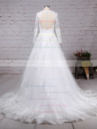Tulle Ball Gown Scoop Neck Sweep Train Appliques Lace Wedding Dresses #DOB00023286