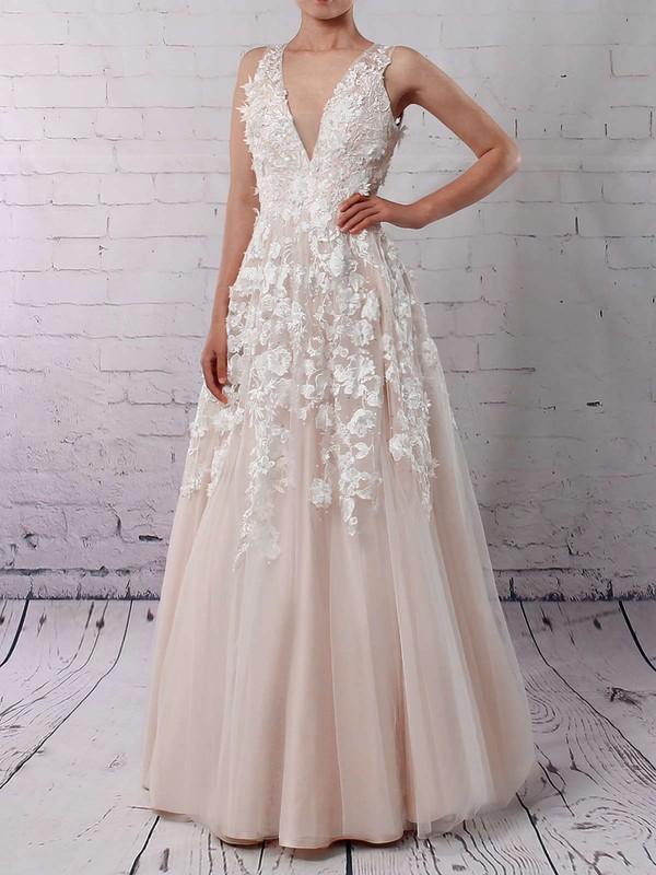 Tulle Princess V-neck Floor-length Appliques Lace Wedding Dresses #DOB00023122