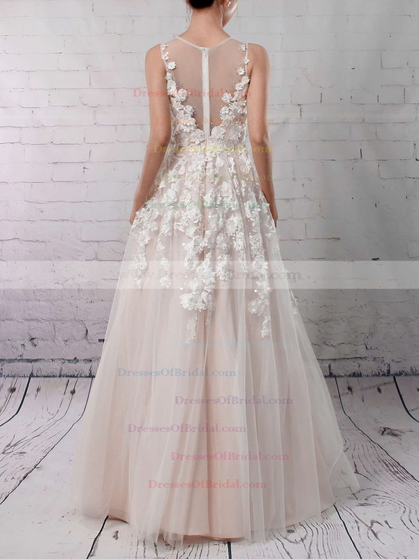 Tulle Princess V-neck Floor-length Appliques Lace Wedding Dresses #DOB00023122