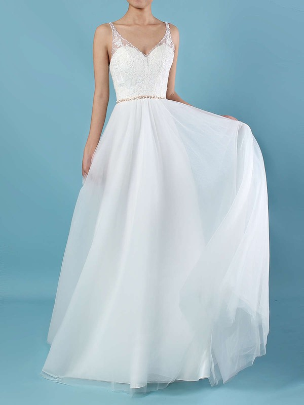 Tulle A-line V-neck Sweep Train Beading Wedding Dresses #DOB00023124
