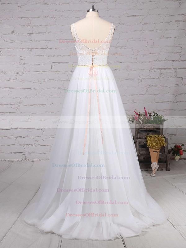Tulle A-line V-neck Sweep Train Beading Wedding Dresses #DOB00023124