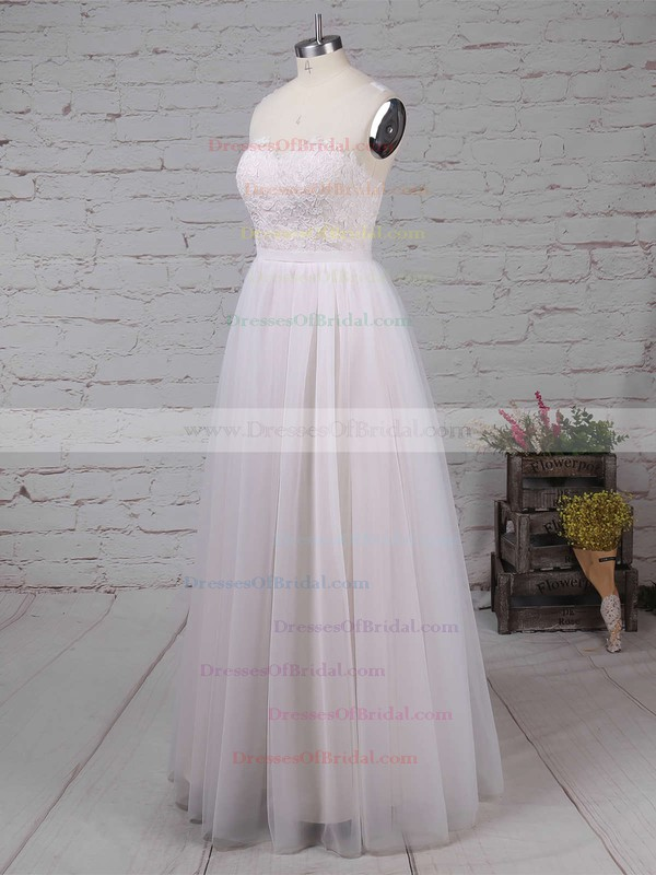 Tulle A-line Scoop Neck Sweep Train Appliques Lace Wedding Dresses #DOB00023126