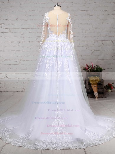 Organza Tulle Ball Gown Scoop Neck Sweep Train Appliques Lace Wedding Dresses #DOB00023141