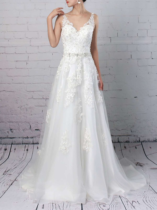 Organza Princess V-neck Court Train Beading Wedding Dresses #DOB00023147